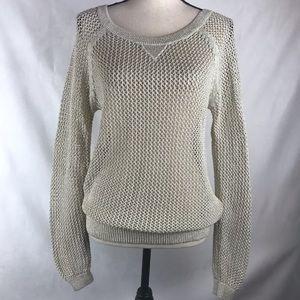 Hollister Sweater Open Weave Gold Threading Beige